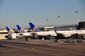 United Airlines planes in Los Angeles
